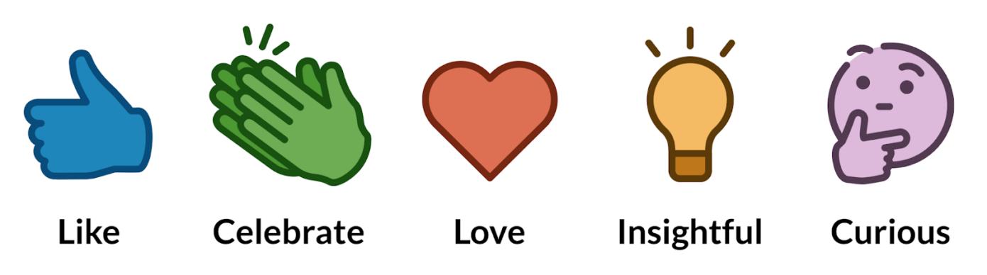 linkedin reactions like celebrate love insightful curious